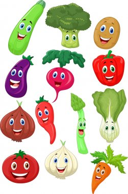 Cute vegetables cartoon character on white background clip art vector