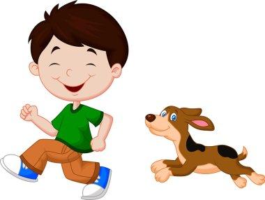Boy running with pet