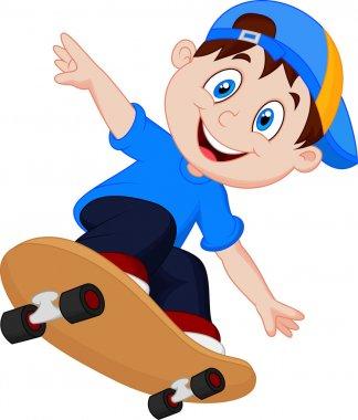 Happy Cartoon Skateboard Boy stock vector