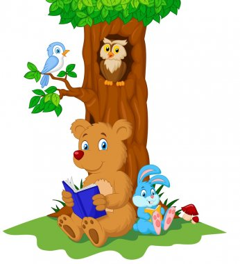 Animals reading book