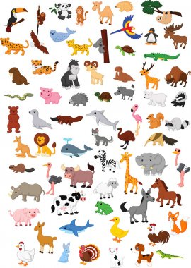 Illustration of big animal cartoon set stock vector