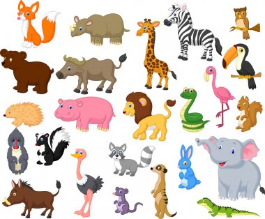 Wild animal cartoon collection stock vector