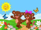 šťastný karikatura medvěd