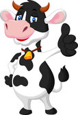 Cute cow cartoon giving thumb up