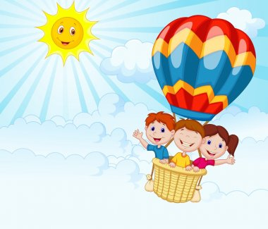 Happy kids riding a hot air balloon in sunny day clip art vector
