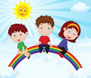 Happy kids sitting on rainbow illustration clip art vector