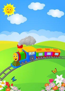 Happy cartoon locomotive