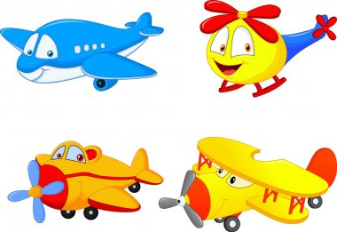 Cartoon plane illustration on white background stock vector