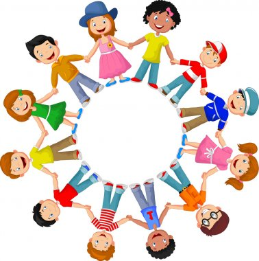 Circle of happy children different races