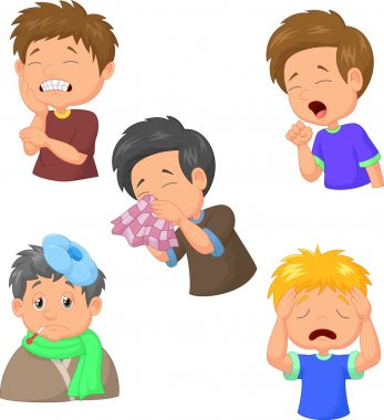 Boy sick cartoon collection illustration on white background clip art vector