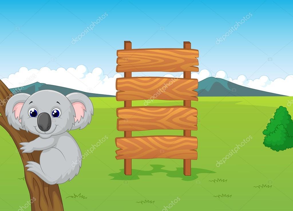 Cartone animato di koala con cartello in legno u vettoriali stock