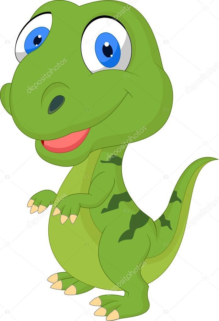 Dinosaure dessin anim mignon vert image vectorielle - Dinosaure dessin anime disney ...