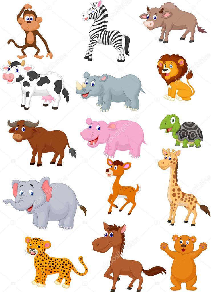 Coleção de desenhos animados animais selvagens — vetor