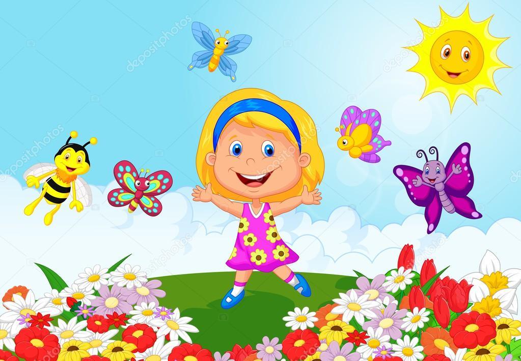 Feliz Niña Corriendo En El Campo De Flor