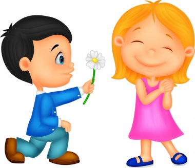 Little boy kneels on one knee giving flowers to girl