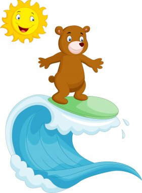 Happy brown bear surfing