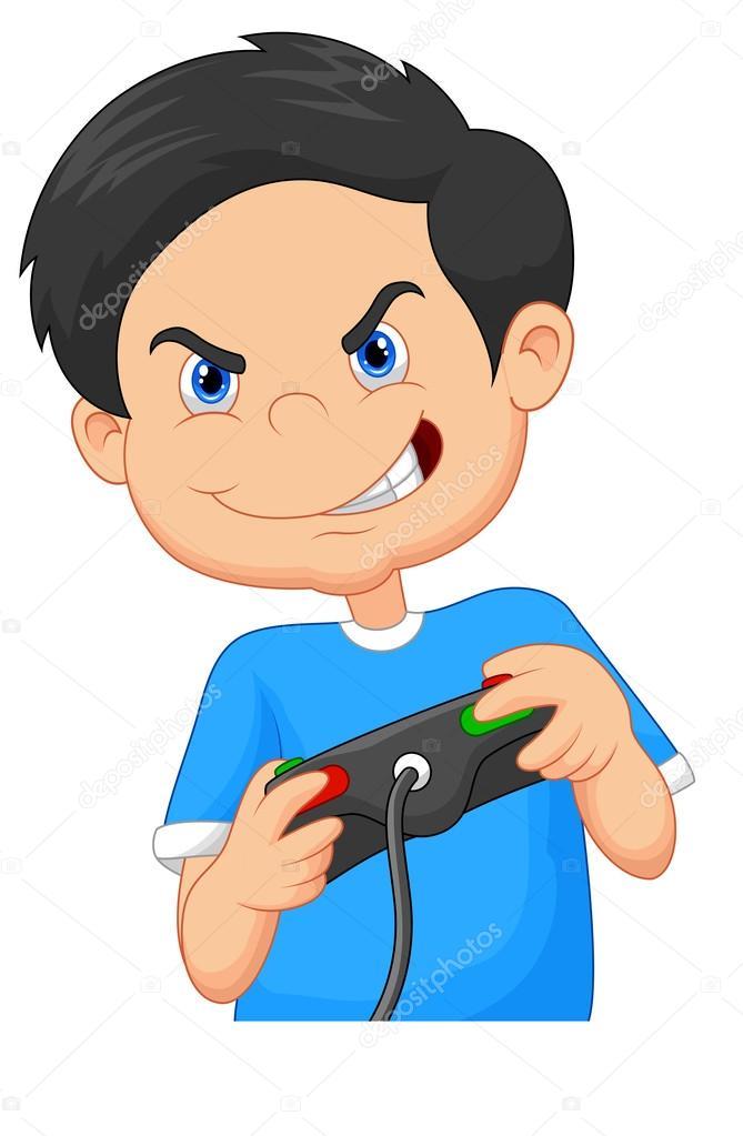Enfant joue à des jeux sur console de jeux vidéo — Image ...