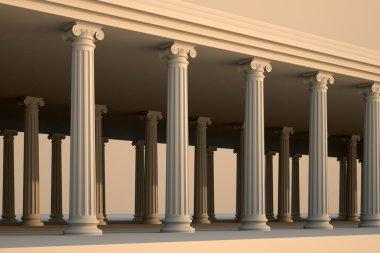 White greek columns.