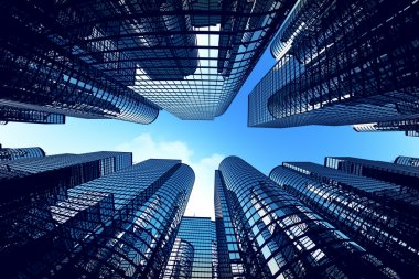 Business towers with fisheye lens effect.