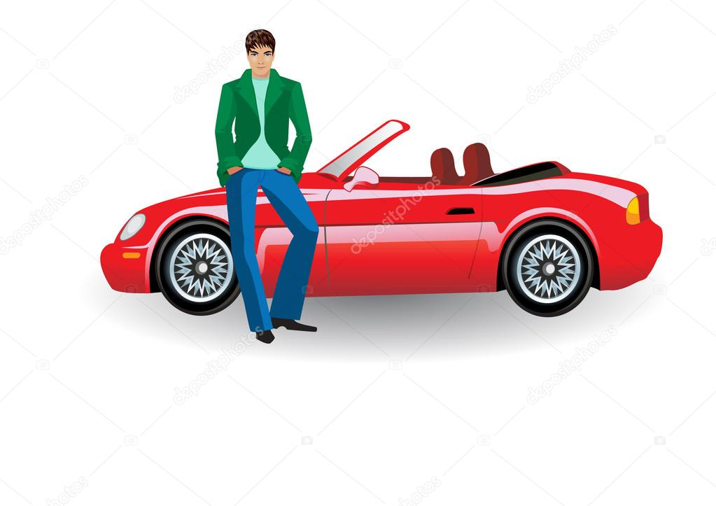 Extrêmement jeune homme, avec une voiture décapotable rouge — Image  RV61