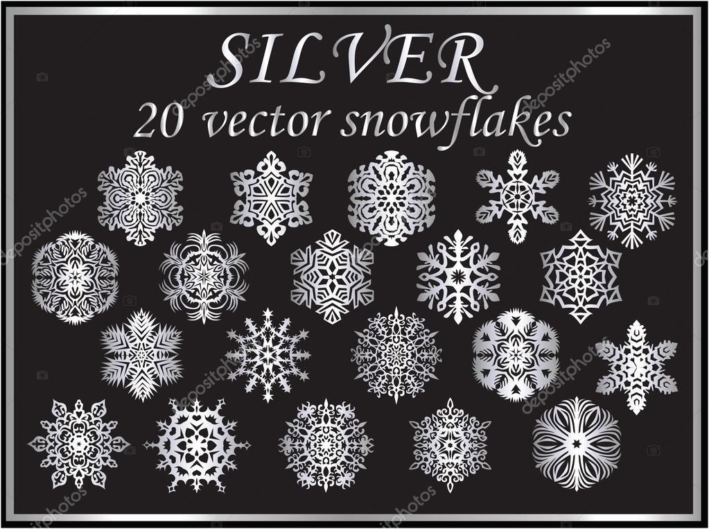 Vector set silver snowflakes