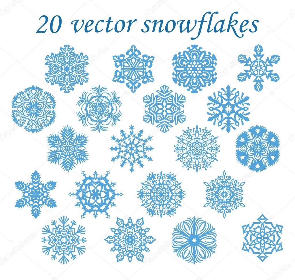 Vector set blue snowflakes