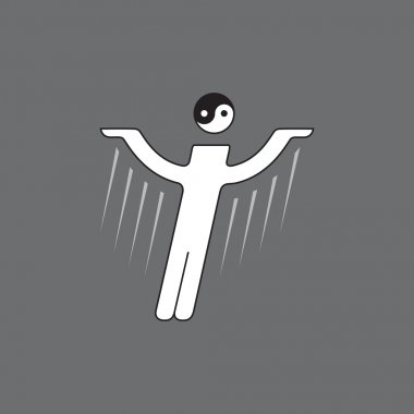 Vector stylized figure of flying man