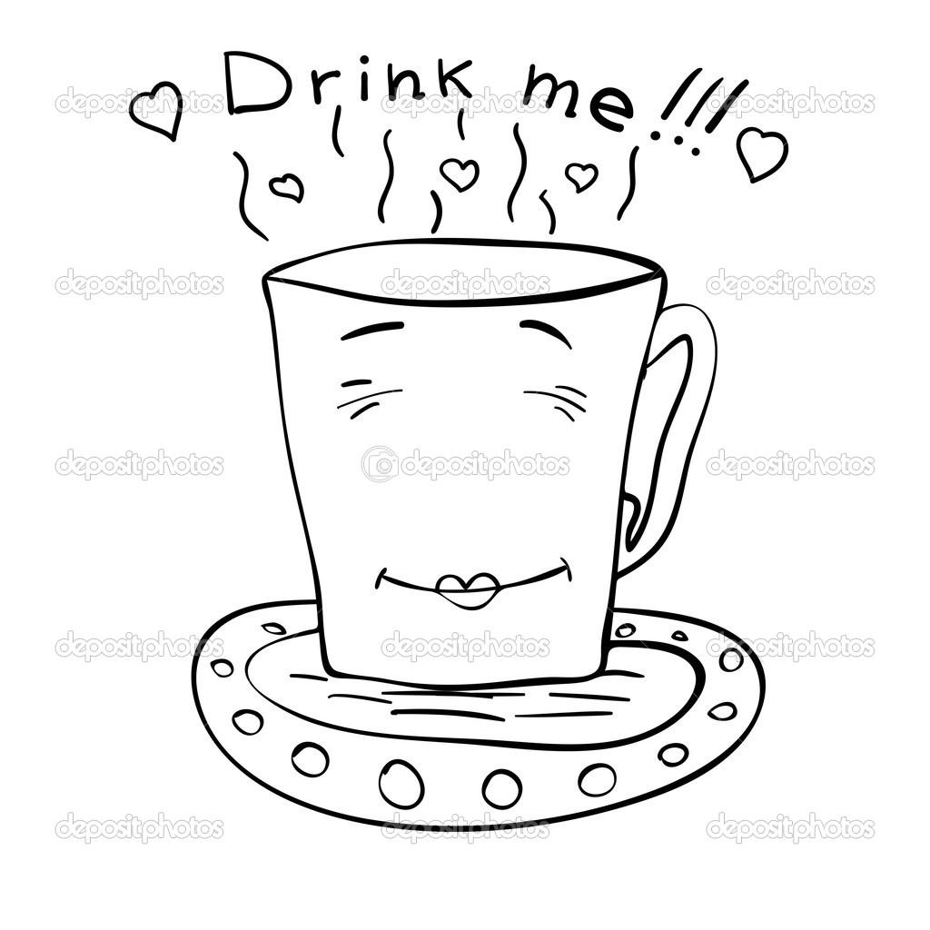 Sketch Of A Cup Of Tea On A Saucer Stock Vector C Volandemorius 27428105