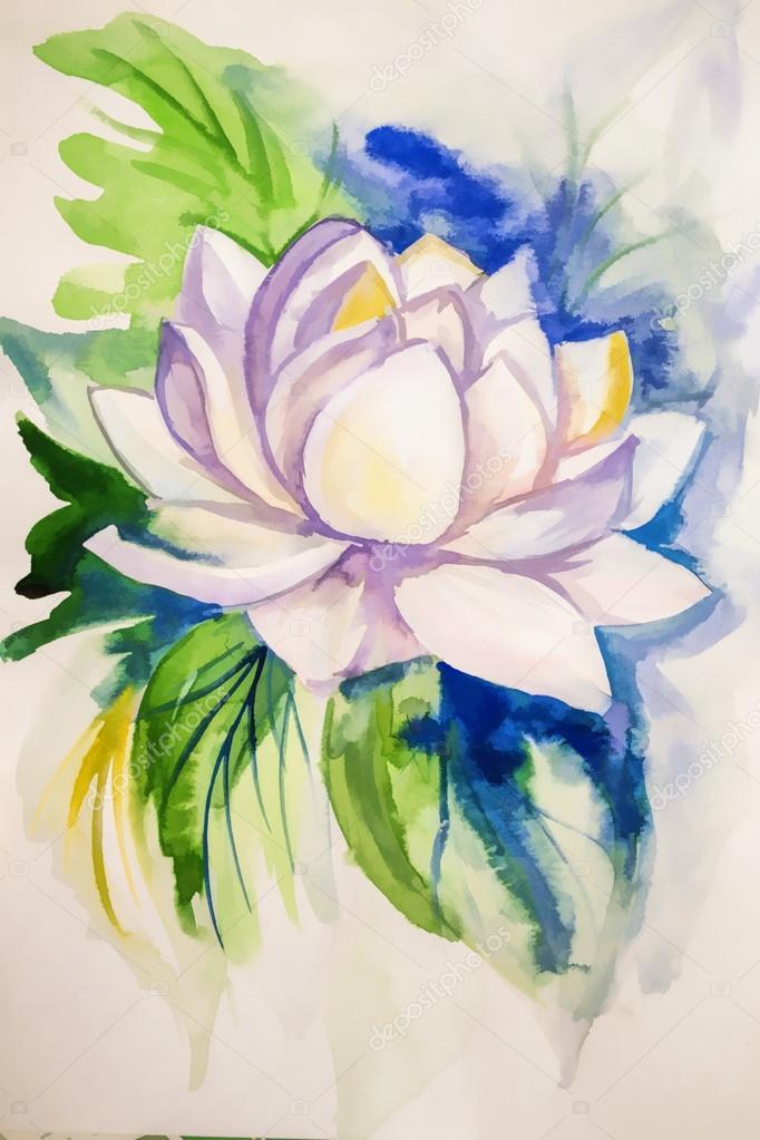 Dibujos Pinturas Acuarelas Flores Una Flor De Loto De Bella