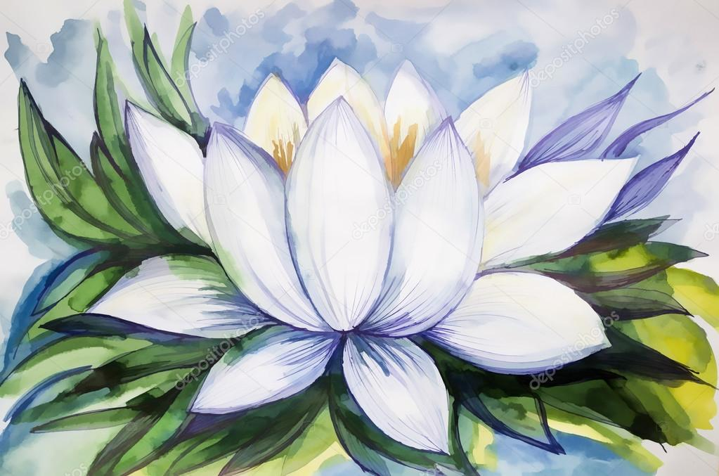 sch ne zeichnung lotus aquarell malen stockfoto. Black Bedroom Furniture Sets. Home Design Ideas