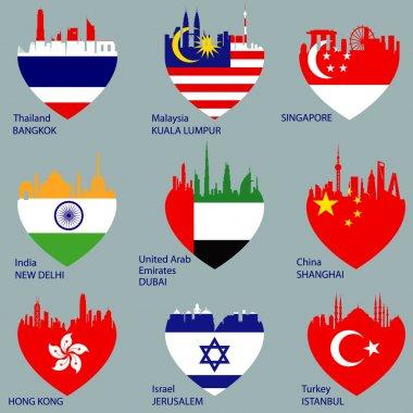 Set of nine cities skylines in heart shape
