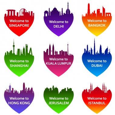 Set of nine cities skylines in heart shape.