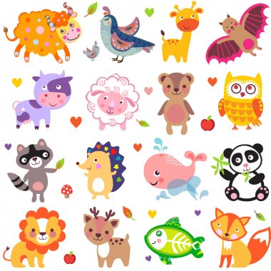 Vector illustration of cute animals: Yak, quail, giraffe, vampire bat, cow, sheep, bear, owl, raccoon, hedgehog, whale, panda, lion, deer, x-ray fish, fox. stock vector