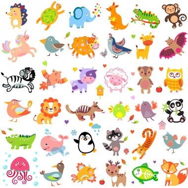 Vector illustration of cute animals and birds: Yak, quail, giraffe, vampire bat, cow, sheep, bear, owl, raccoon, hedgehog, whale, panda, lion, deer, x-ray fish, fox, dove, crow, chicken, duck, quail, crocodile, tiger, turtle, kangaroo, elephant, monk stock vector