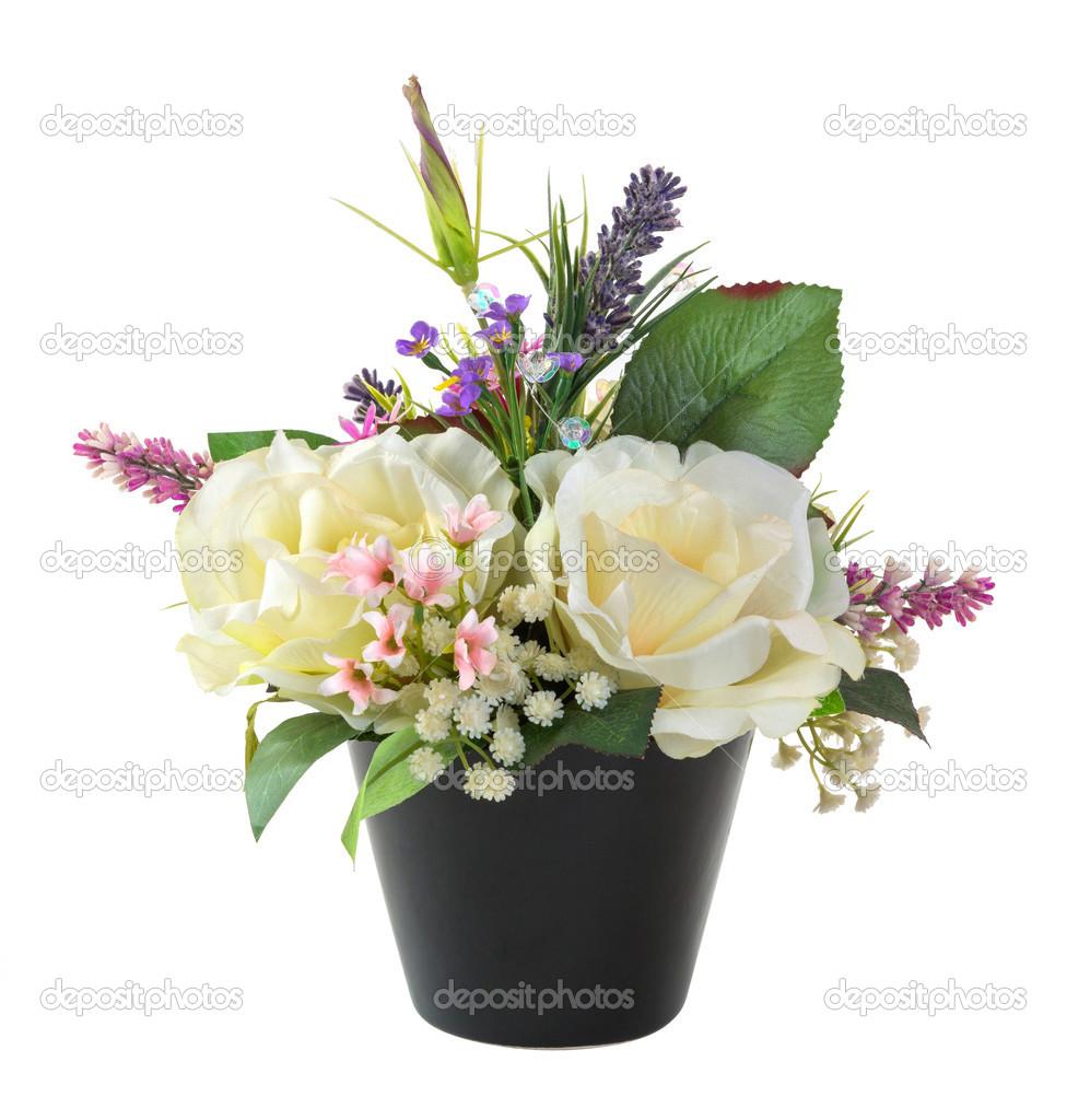 Ramo de flores en maceta negra foto de stock smuayc - Flores de maceta ...