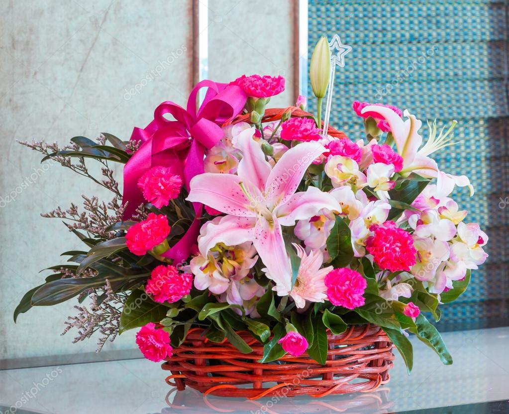 Bouquet of flower in wicker basket
