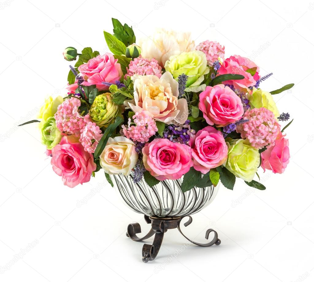 Bouquet of roses in glass vase