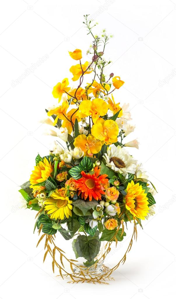 Bouquet Of Sunflower And Vanda In Glass Vase Stock Photo Smuayc