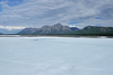 The permanent ice fields in the tideway of the Yakut river.