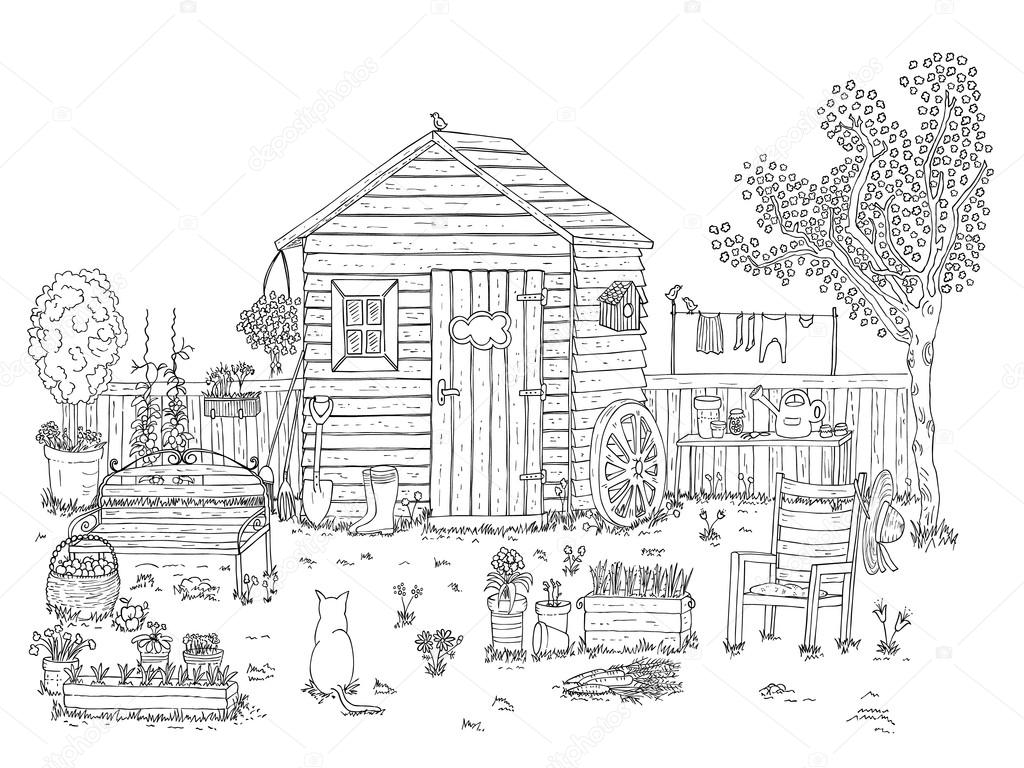 sketch of nice garden - coloring book — Stock Vector © isabel_a ...