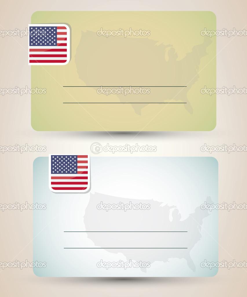 Carte De Visite Avec Drapeau Et Des Etats Unis