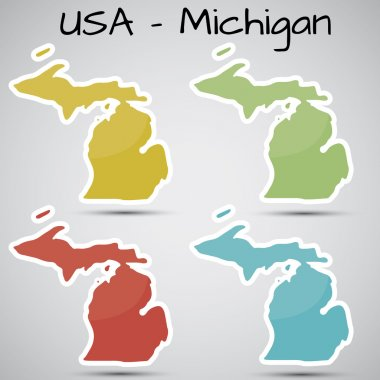 Stickers in form of Michigan state, USA