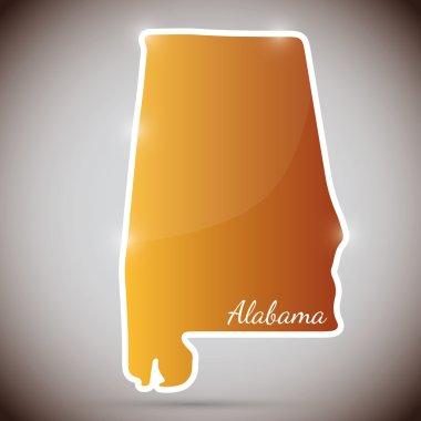 Vintage sticker in form of Alabama state, USA