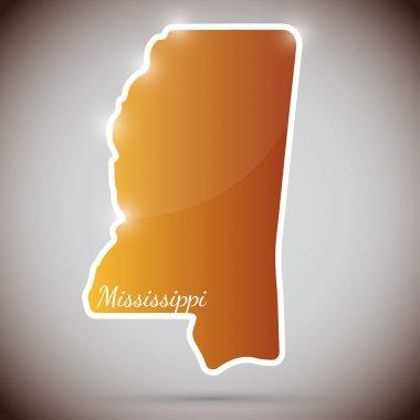 Vintage sticker in form of Mississippi state, USA