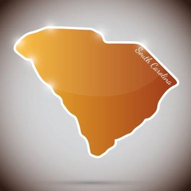 Vintage sticker in form of South Carolina state, USA