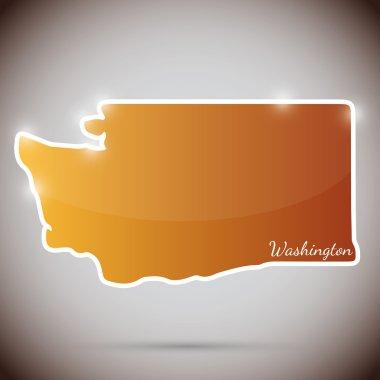 Vintage sticker in form of Washington state, USA