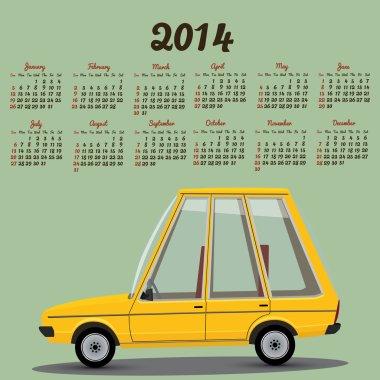 2014 calendar with a cartoon car