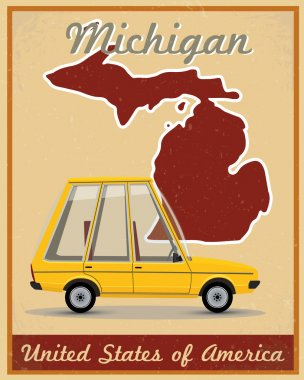 Michigan road trip vintage poster