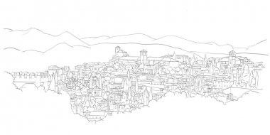 Urban sketch of Granada, Spain (view from Heneralife)