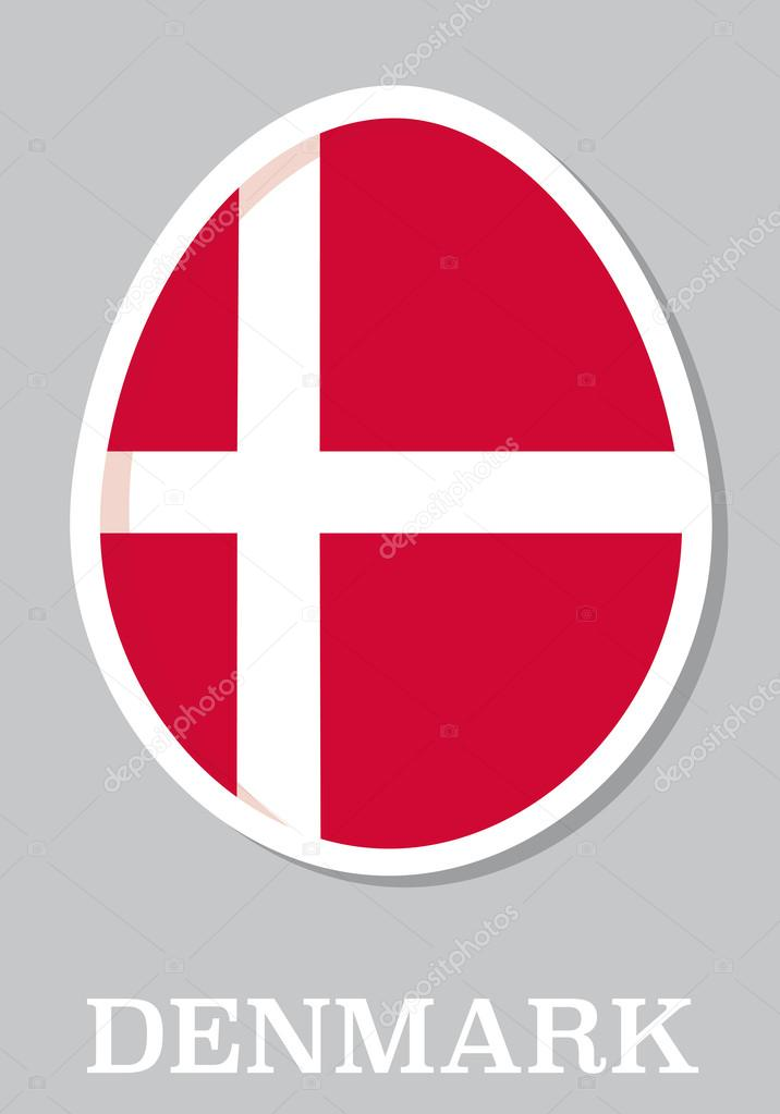 Sticker flag of denmark in form of easter egg stock vector